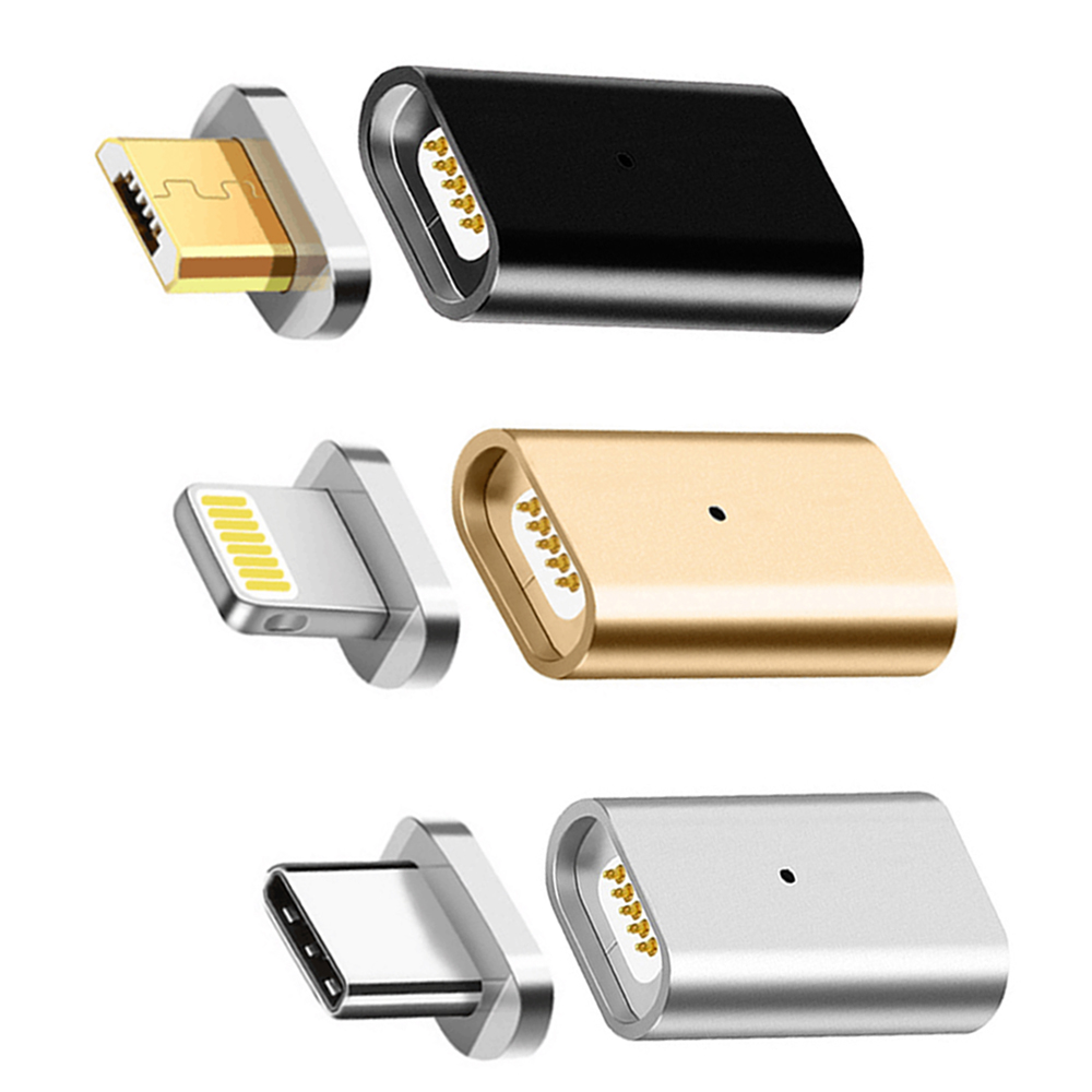 Magnetic Adapter USB Micro Female To Type C Splitter Phone Adapter For Iphone 7 8 X Plus Data Cable 3in 1 For Samsung S8 Android