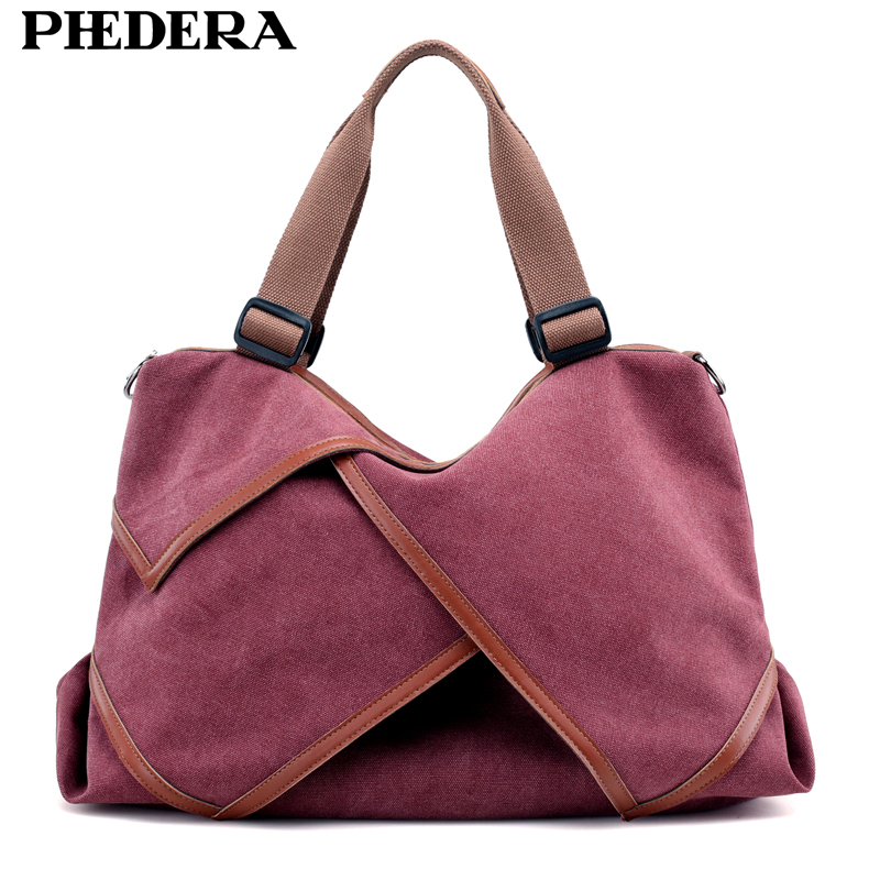 PHEDERA Brand New Trend Women Shoulder Bags Big Capacity High Quality Canvas Handbags for Women Casual