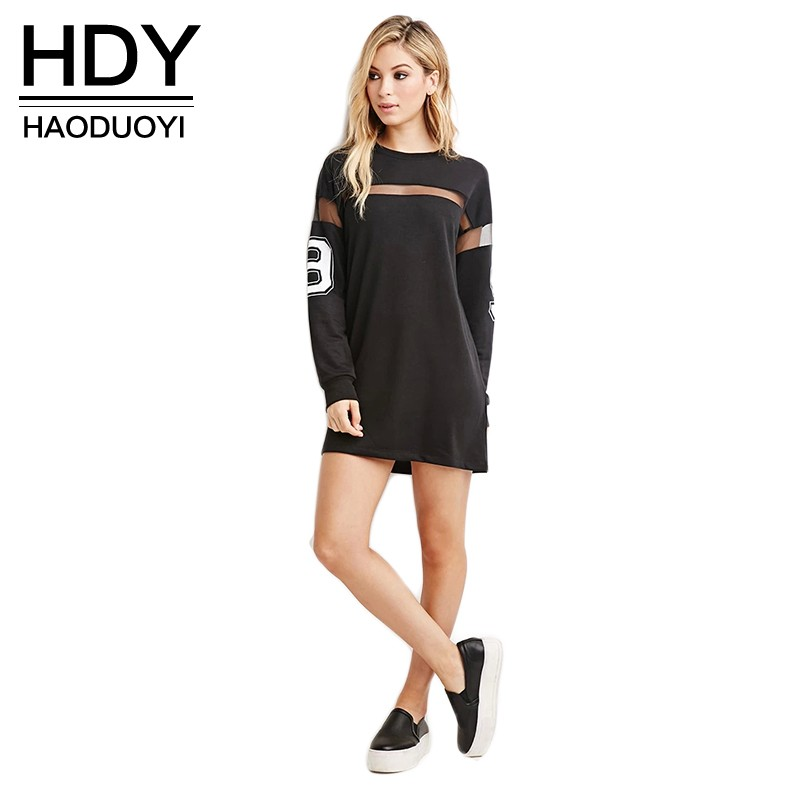 dongnaxin Store Haoduoyi 2017 Fashion New Dress Women Mesh Patchwork Street Style Vestidos Loose Casual Mini Dress Women Sheer Shift Dress