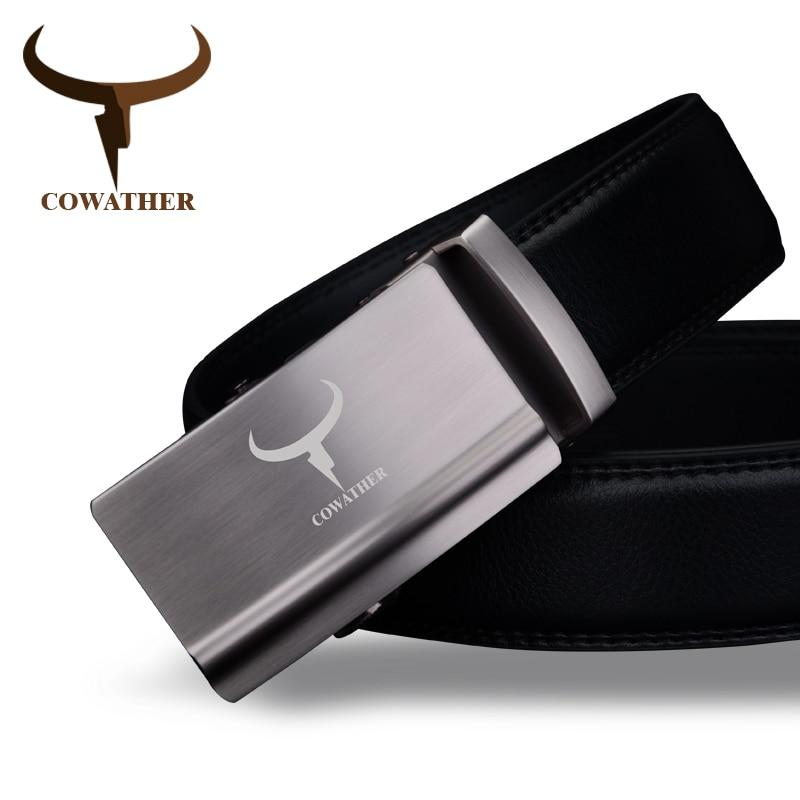 COWATHER de luxe mode hommes ceinture top vache véritable en cuir  automatique alliage boucle ceintures pour ce6e1595fcd