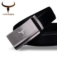 COWATHER Luxury Fashion Mens Belt Top Cow Genuine Leather Automatic Alloy Buckle Belts For Men Ceinture