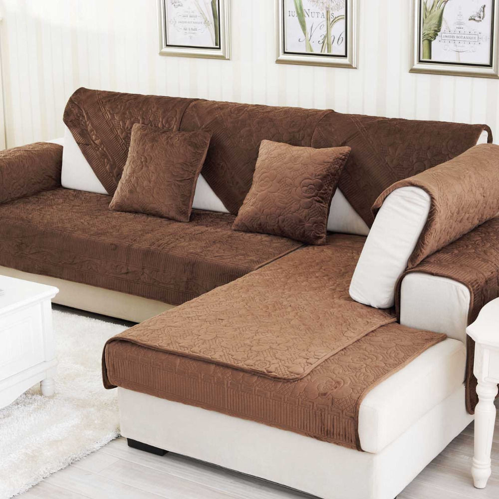 Sofa Velvet Slipcover Us 13 63 Velvet Combination Modern Sofa Cover Solid Sofa Slipcover Cotton Seat Couch Furniture Cover Combination Set For Living Room In Sofa Cover