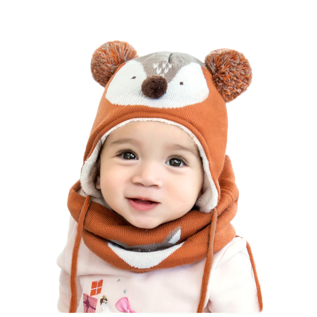 2019 New Winter Children Warm Thick Hat Scarf Glove 3pcs Set Fox Knitted Baby Kids Beanies Caps Neck Warmers Gloves For Boy Girl 1