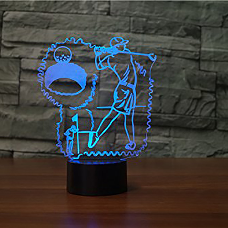 Usb Touch Button Lighting 3D Visual Night Lights 7 Colors Changing Play Golfing Modelling Desk Lamp Led Sleep Sports Fans Gifts