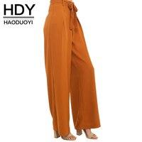 HDY Haoduoyi Fashion Drawstring Wide Leg Pants Women High Waist Slim Female Trousers Solid Orange Pleated
