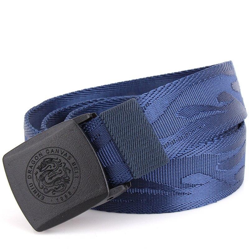 Pure Color Men's Canvas Belts 135CM Black Blue Red Khaki Green Fashion Casual Teen Plastic Belt Buckle Hypoallergenic Nylon Belt