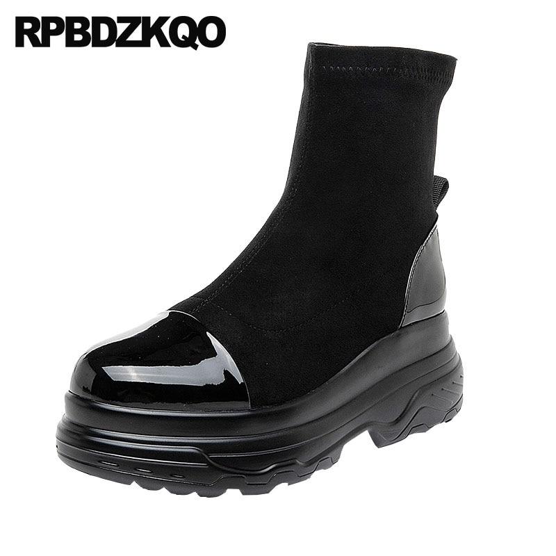shoes black platform ankle slip on harajuku women boots 2018 round toe new muffin fur flatform autumn wedge patent leather fall цена 2017