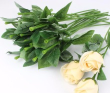 100pcs/lot Artificial leaves rose stem plastic flower branch holding a wedding decoration