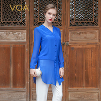 VOA 2017 Summer Blue Silk Georgette Office Ladies Thin Blouse Sexy See Through V Neck Long