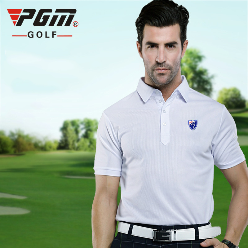 PGM Golf T-shirts For Men Solid Cotton Breathable Summer Golf Polo Shirt Brand Golf Clothing Man Qualified Golf Training T-shirt