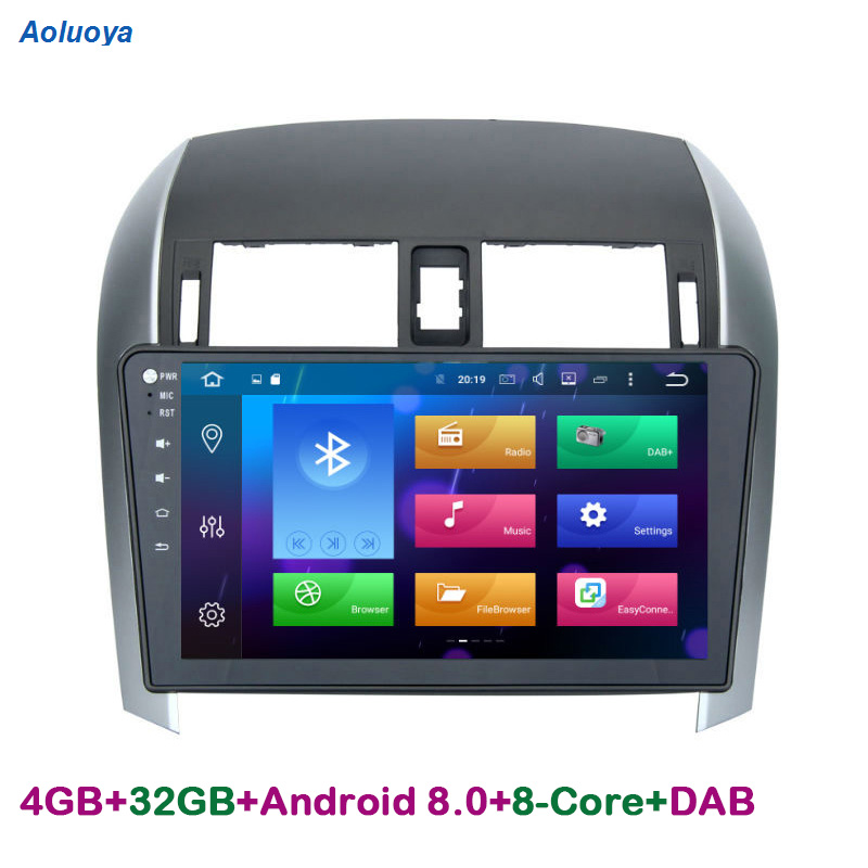 Aoluoya RAM 4G Octa-Core Android 8.0 2 Din CAR Radio DVD GPS Navigation For Toyota Corolla 2007-2012 audio video multimedia WIFI