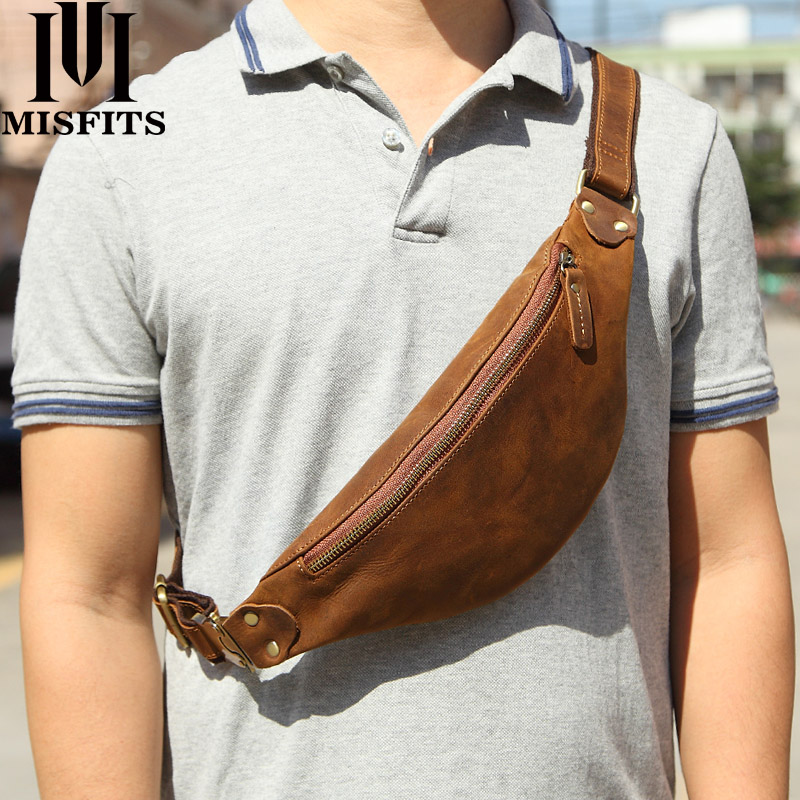 MISFITS véritable sac de taille en cuir de cheval fou pour hommes voyage Fanny Pack 120cm longueur de ceinture mâle petit sac de taille pour pochette de téléphone