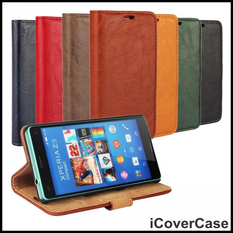 Para sony xperia z3 compact casos cubierta de cuero fundas capa coque bolso de l
