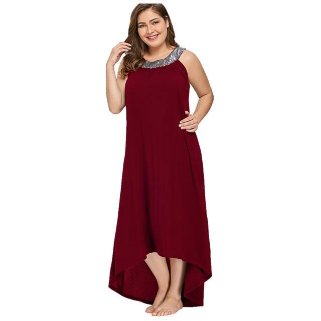 Online Shop Elegant Sequins Wine Red Color Party Dress PLus Size ...