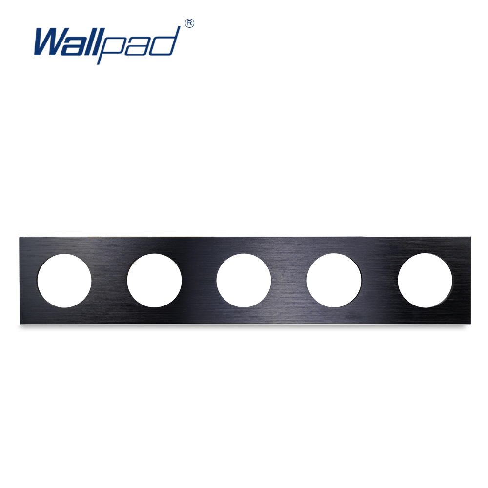 Wallpad L6 DIY Black Quintuple 5 Gang Frame Brushed Aluminum Metal Plate For Wall Switch Socket Free Combination, 430*86mm