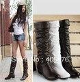O envio gratuito de botas de Neve único botas femininas primavera e outono de 2016 calcanhar plana flatbottomed high-leg botas branco preto marrom