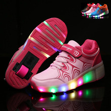 NEW 2016 Child Shoes S LED Light Roller Skate Shoes For Children Kids Girls Boys Sneakers