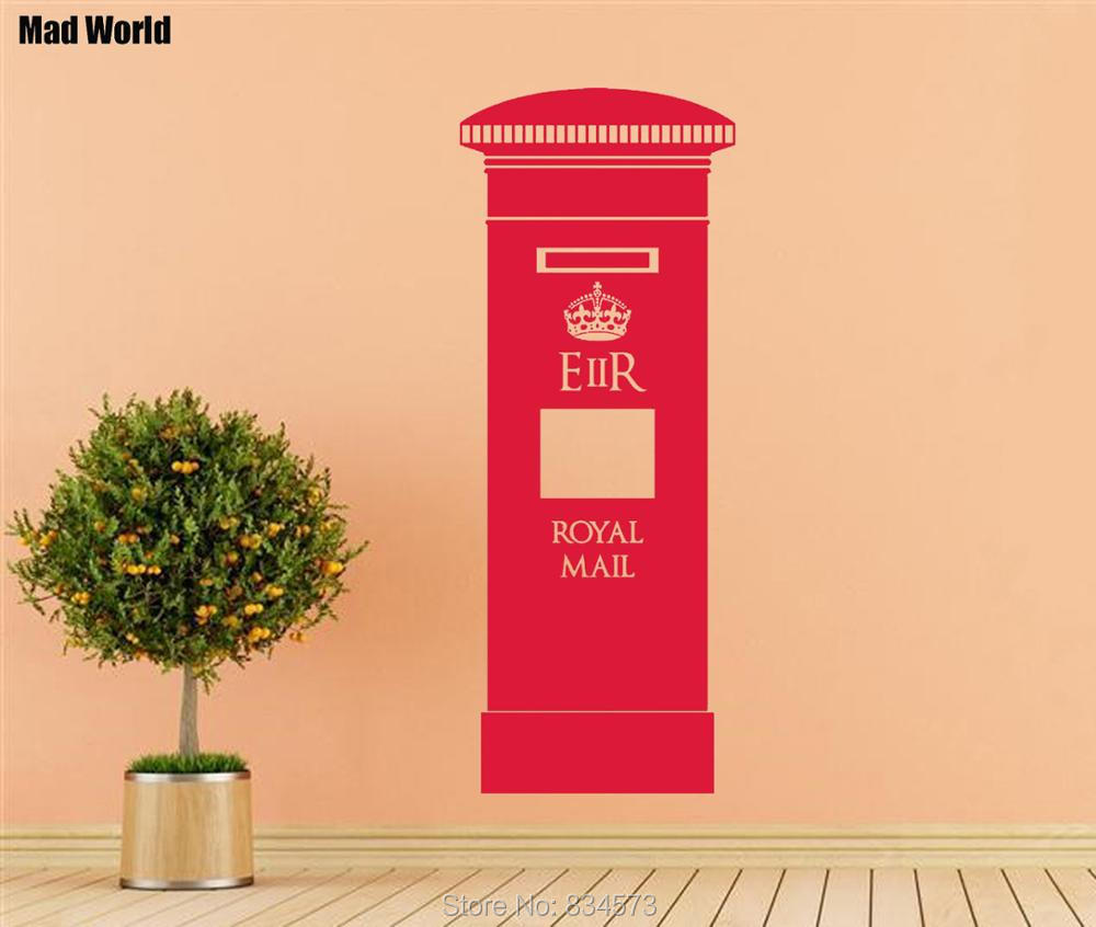 Mad World POST BOX London British Silhouette Wall Art Stickers Wall Decal Home DIY Decoration Removable Room Decor Wall Stickers-in Wall Stickers from ...