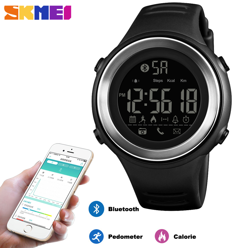 SKMEI Bluetooth Smart Sports Watch Men Fashion Digital Pedometer Calories Fitness Clock Waterproof Wristwatch Relogio Masculino