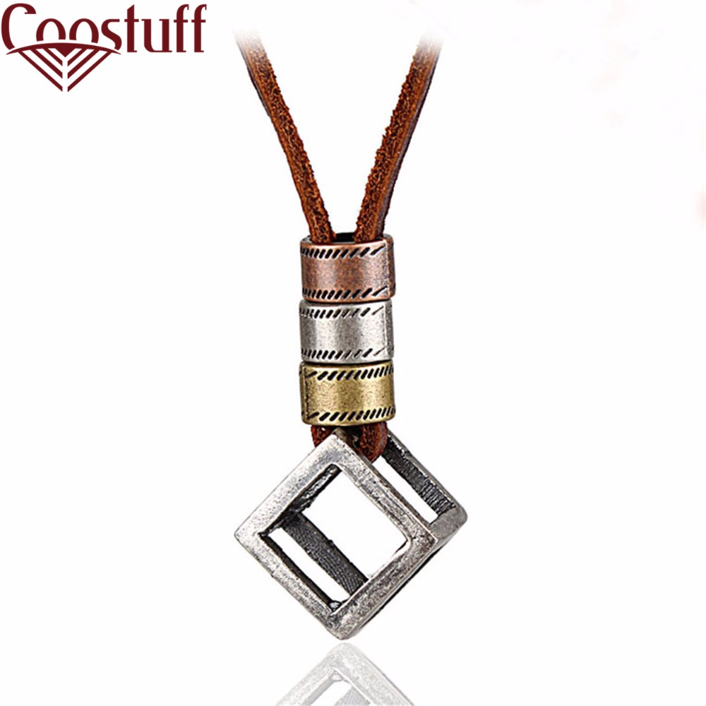 2017 men jewelry vintage collier femme necklaces & pendants,collares love cube pendant choker leather rope necklace for women