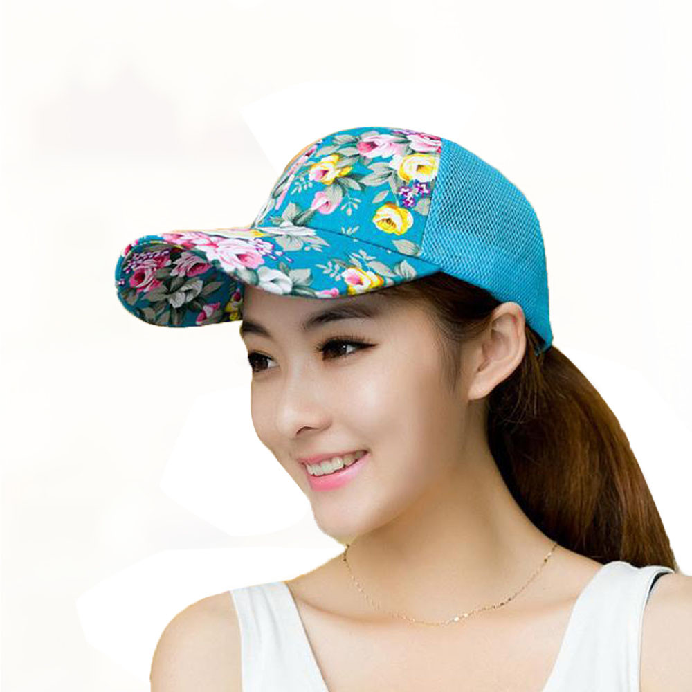 New Female Floral Hat Baseball Cap Mesh Spring And Summer Leisure Sun Hat Snapback Cap 2018(China)