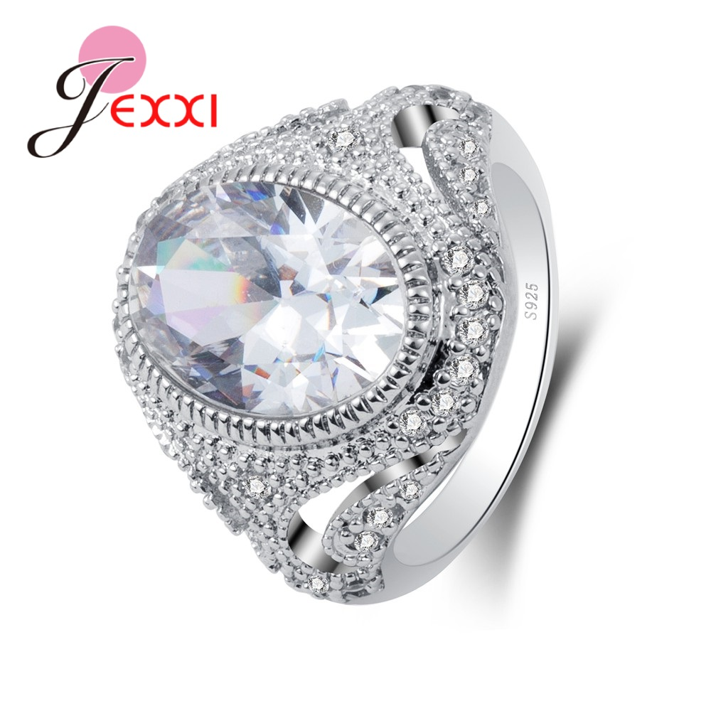 Jexxi Wedding Engagement Rings For Women S90 Silver Clear