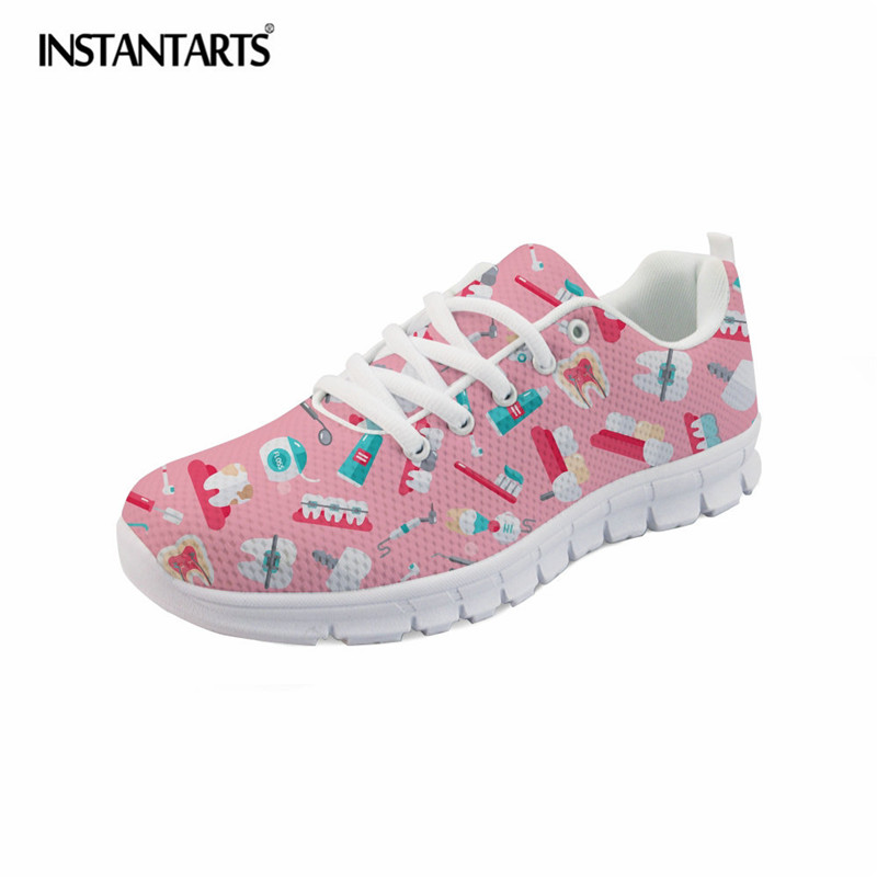082e8aa6901 US $28.49 43% OFF|INSTANTARTS Women Lightweight Running Shoes Cute Dentist  Pattern Comfortable Sport Shoes Girls Breathable Mesh Sneaker Shoes-in ...