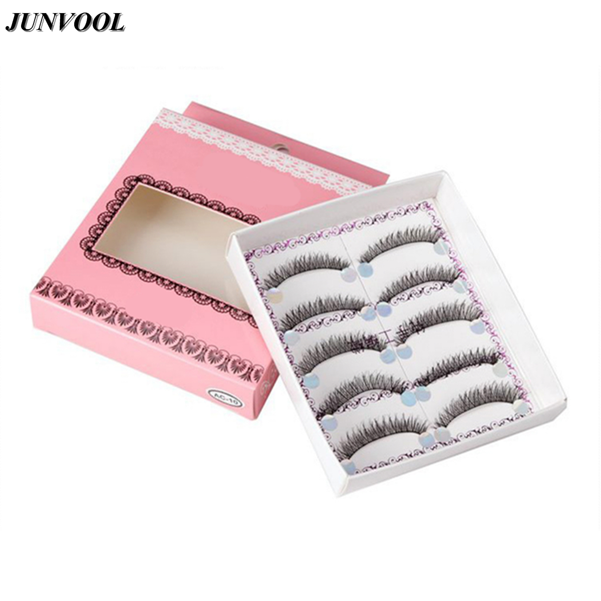 Cross Handmade False Eyelashes 5 Pairs Thick Black Cotton Stretch Fake Eyelash Lashes Makeup Tips Natural Fake Eye Lash
