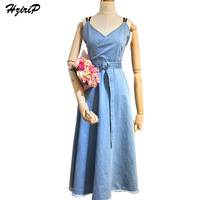 Hzirip Elegant Sexy Denim Dress Women 2017 New Fashion Slim V Neck Party Jeans Dresses Casual