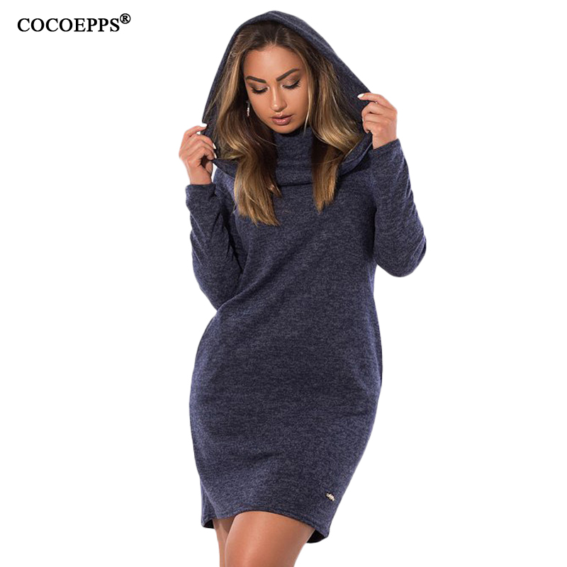 COCOEPPS 2018 Women hooded Sweater Dresses Casual Plus Size Women Clothing 5XL 6XL Big Size knitted Warm Dress Winter Vestidos