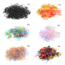 500 Pcs/Pack Candy Color Super Elastic Mix Elastic Hair Bands Kids Hair Ties Ponytail Holder(China)