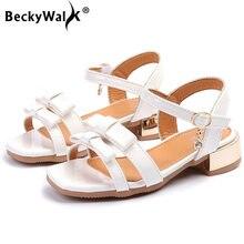 BeckyWalk 2018 New Summer Bowknot Children Shoes Girls Princess Sandals  Kids High Heel Party Shoes White Pink Size 26-36 CSH630 0f790390629d