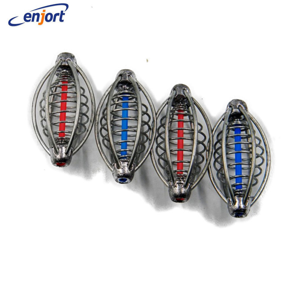 Enjort 2pcs Spring+Lead Fishing Lures Cage Bait Holder Fish Lure Pallets Fishing Accessories For Explosion Hooks Fishing Feeders