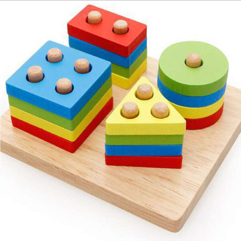 15CM Wooden Geometric Toy Kids Math Montessori Puzzle Preschool Learning Educational Game Baby Toys For Children