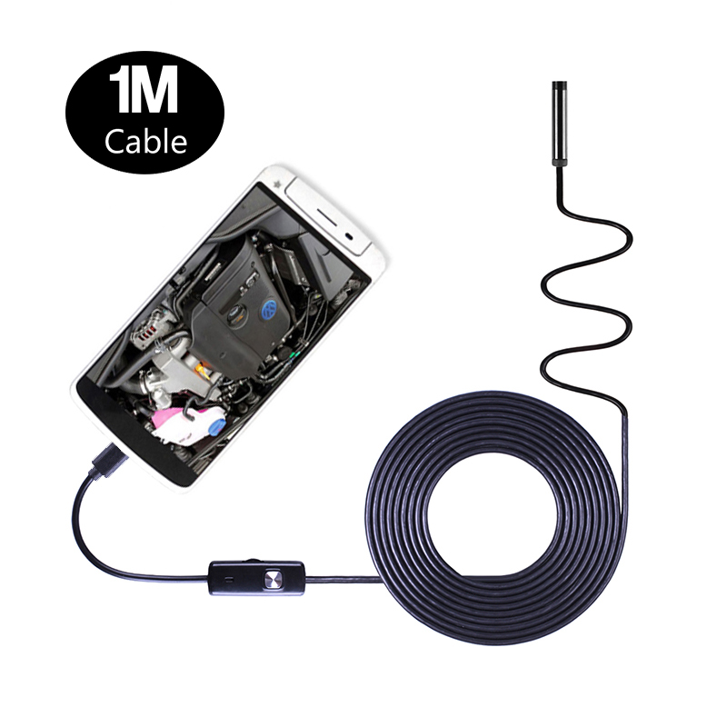 2in1 Android Endoscope Camera 1m Soft Hard Cable Waterproof Micro Usb Otg Car Inspection Borescope Endoscopy 5.5mm 7mm 8mm Lens Elegant Shape