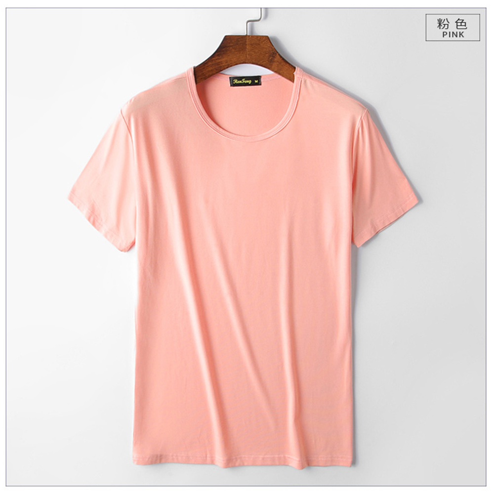Smooth soft Modal cotton Men's Solid Color t-shirt O-Neck Short Sleeve T shirt men casual t-shirts Summer breathable tshirts top (4)