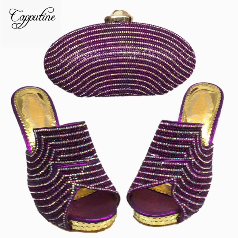 Capputine High Quality New Rhinestone Woman Shoes And Bag Set Africa Style Heels Shoes And Purse Set For Party BL435C capputine summer style africa low heels woman shoes and bag fashion slipper shoes and purse set for party size 38 42 tx 8210
