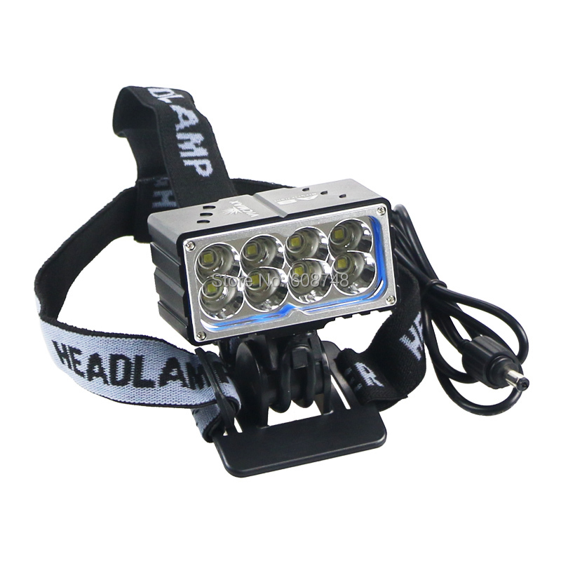 Bicycle Headlight 8xCREE XM-L2 13000 lumen LED Cycling Rechargeable Light Headlamp & Waterproof battery pack 2 in 1 13t6 bicycle headlight headlamp 23000 lumen 13x cree xm l t6 led cycling helmet bike light 18650 battery pack charger