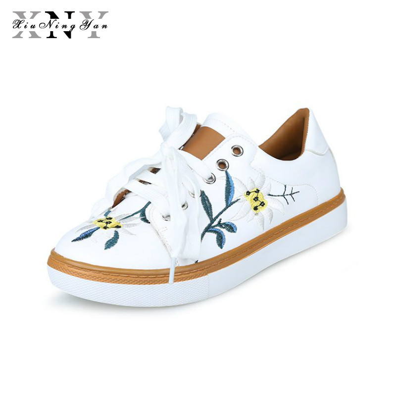 XiuNingYan Brand Flat Shoes Women Breathable Spring Summer Woman Embroider Soft Lady Casual Sneakers Women's Vulcanize Shoes summer outdoor walking shoes women sneakers breathable flat mesh vulcanize shoes fashion comfortable women casual shoes ddt103