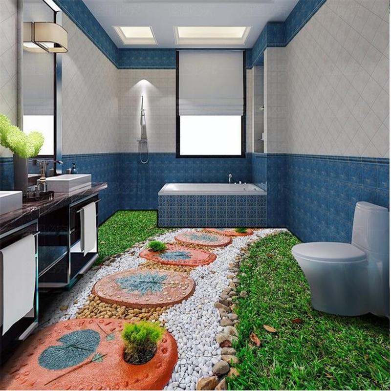 US $17.7 41% OFF|beibehang self adhesive floor mural Green lawn stone  modern bedroom wall paper 3d floor tiles photo wallpaper 3d floor  painting-in ...