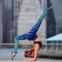 Women Colorful Striped Yoga Legging 2019 Plus Size Slim Fitness Leggings Breathable Gym Trousers Sports High Waist Yoga Pants