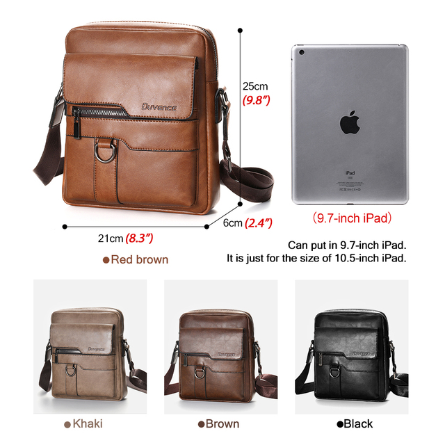 Fashion Men Shoulder Bag for 10.5″ ipad PU Leather 2019 Men's Crossbody Bags Business Brown Flap Male Solid Messenger Bag Flaps