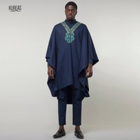 Kureas Dashiki African Men Suit Agbada 3PCS Set Blue Boubou Africa Wear Wide sleeved Robe Formal Attire