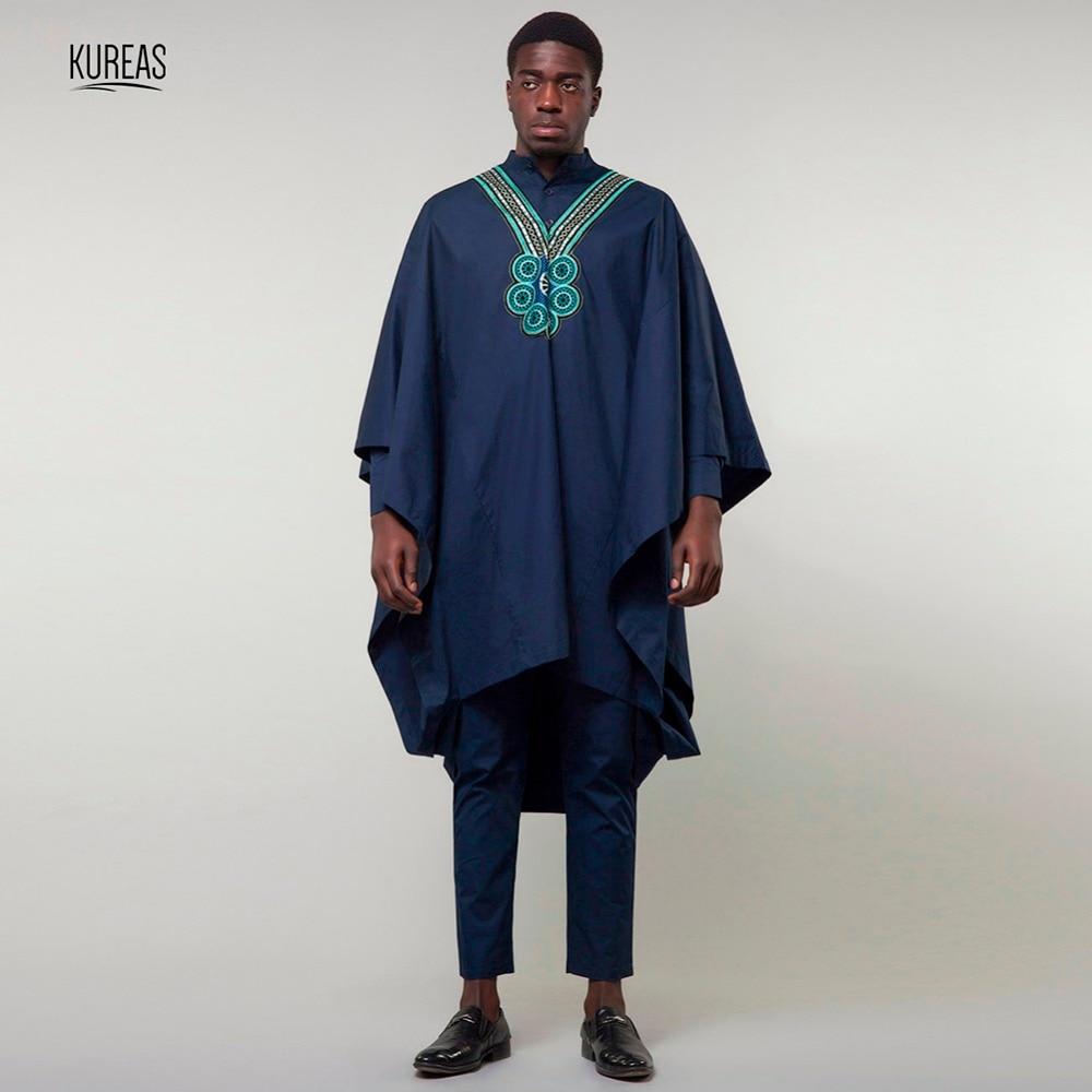 Kureas Dashiki costume africain hommes Agbada 3 pièces ensemble bleu Boubou afrique porter Robe à manches larges tenue formelle