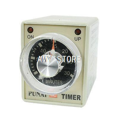 12V/24VDC 12/24V/110V/220VAC Panel Mounted DPDT 8P 30Min 0-30M Timer Time Relay AH3-3 w LED Indicator rotary knob dpdt 2no 2nc 8p 0 30seconds timing time relay dc 24v ah3 2