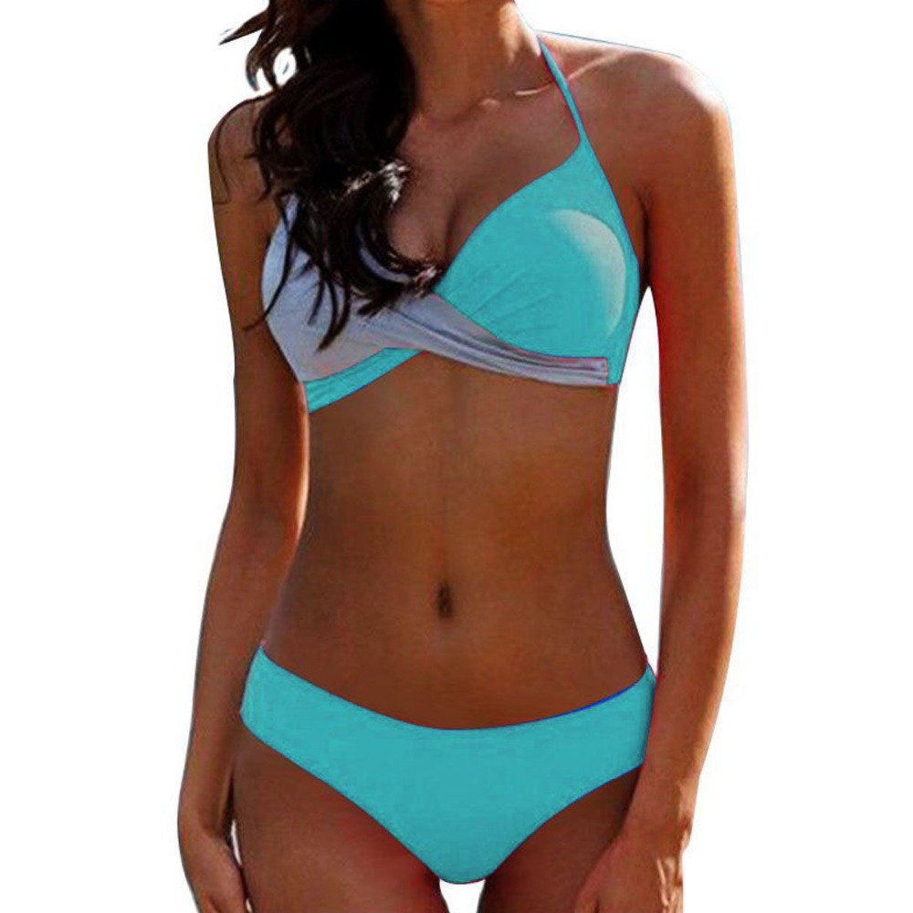 2pcs Women Color Matching Push Up   Bra     Set   Beach Bathing Suit Bikini   Set   padded   bra   bralette Swimwear   Bra   &   Brief     Set