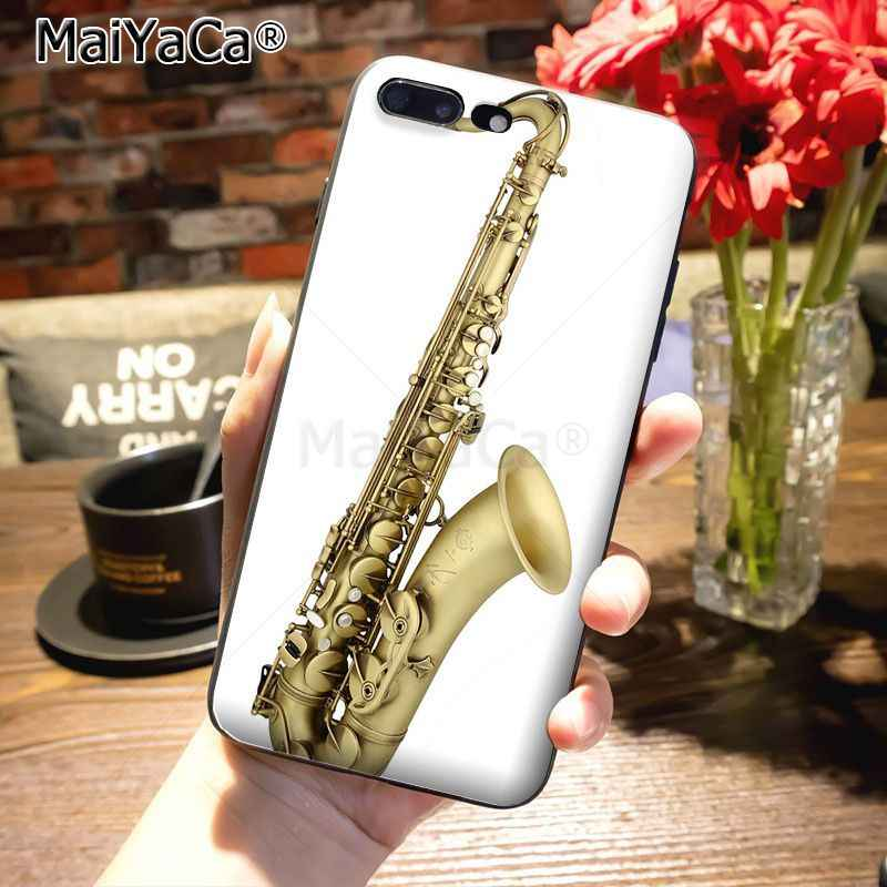 MaiYaCa Musical instruments Saxophone Painted cover Cell Phone Case for iPhone 8 7 6 6S Plus X 10 5 5S SE 12pro case Coque
