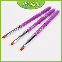 New Design Metal Handle Synthetic Hair Multifunctional UV Gel Nail Art Brushes Size 6