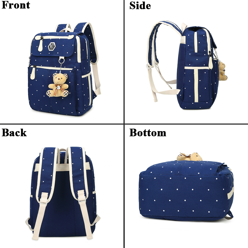 Image 3 - Women Canvas 4Pcs/set School Backpacks College Schoolbag Fashion Plecak for Teenager Girl And Boys Rucksack Moclila Shoulder Bag-in School Bags from Luggage & Bags