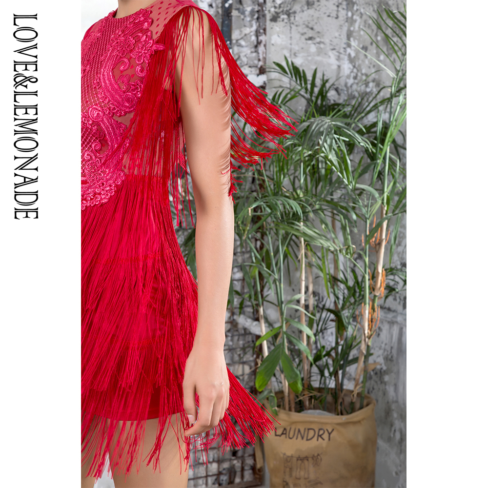 Love&Lemonade  Red Round Neck Lace Fringed Decorative Dot Mesh Party Dress LM81272